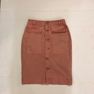 J.Crew Button-front garment-dyed skirt